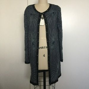 NWT Vintage Brenda's Silk Beaded Cover-Up/Cardigan
